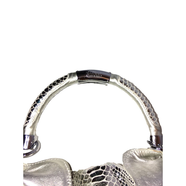 Gucci Silver Metallic Python Large Babouska Indy Bag. Runway Bag! Coco et Louis