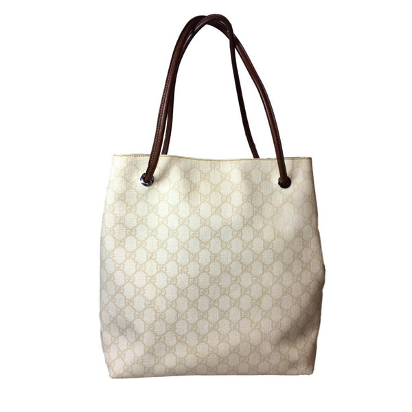 Gucci Tan and Brown Denim Monogram Gifford Shopper Tote. Spectacular! Coco et Louis