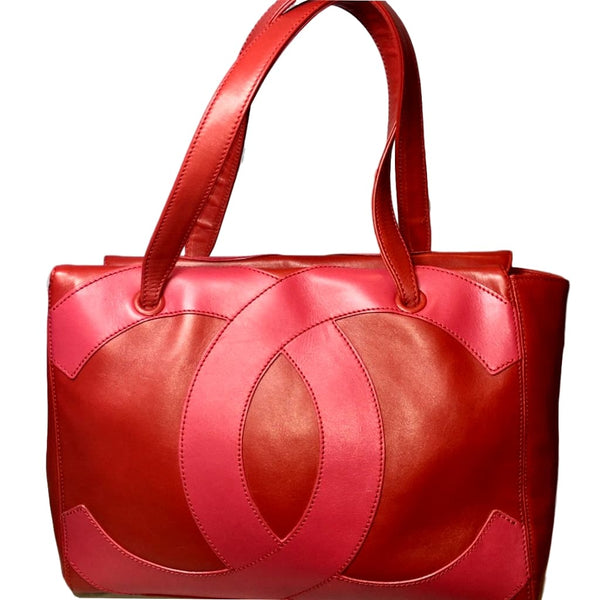 Chanel Red Pebble Leather Large Tote Bag.  Fabulous!