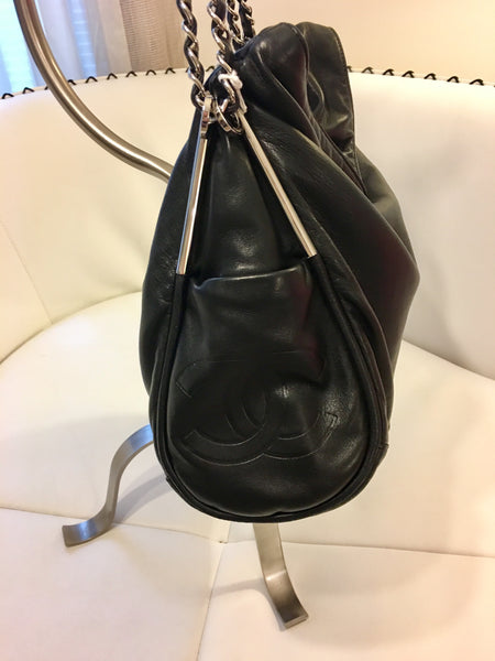 SOLD - Chanel Black Ultra Soft Lambskin Shoulder Bag with Silver Hardware.  Gorgeous!