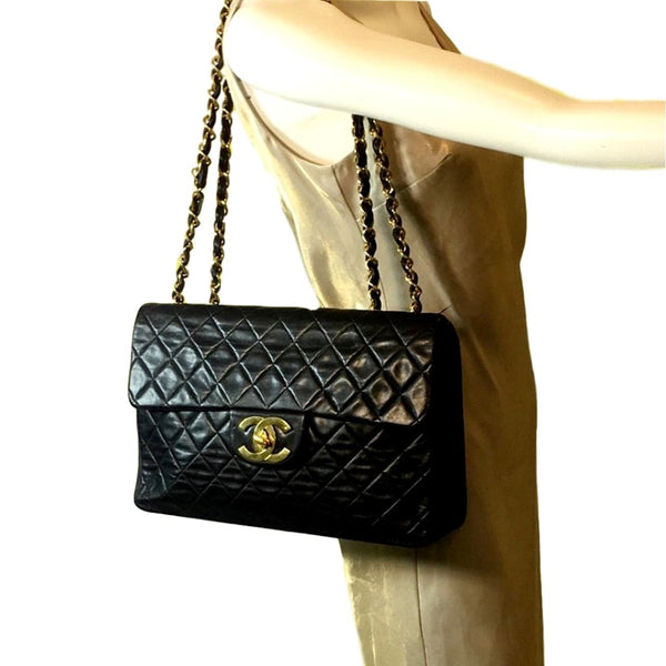 Sold - Chanel Black JUMBO flap bag.  Excellent condition!