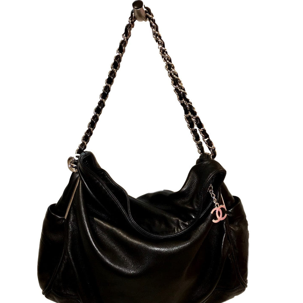 34d1947cc132 SOLD - Chanel Black Ultra Soft Lambskin Shoulder Bag with Silver ...