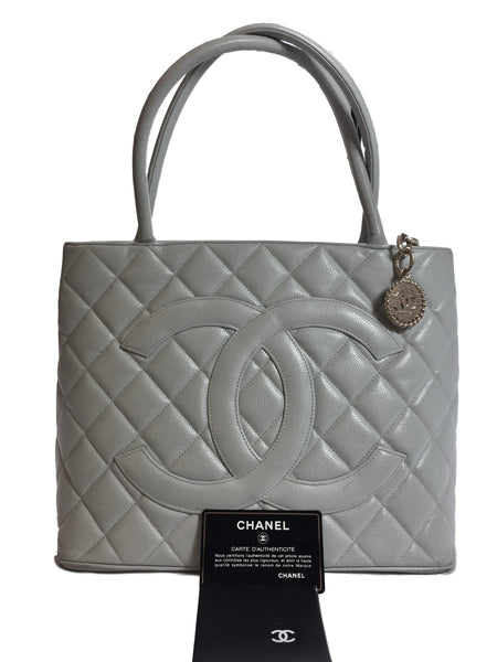0a67a7759565 Chanel Bluish Grey Caviar Medallion Tote. Chic! – Coco et Louis
