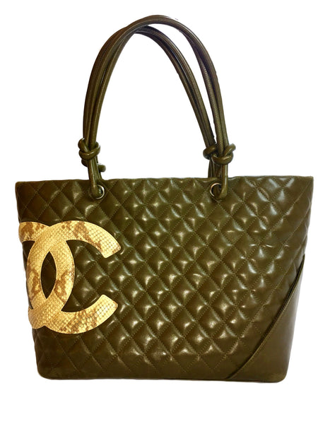 802971752393 Chanel Green Lambskin Large Ligne Tote Shoulder Bag. So Stylish! – Coco et  Louis