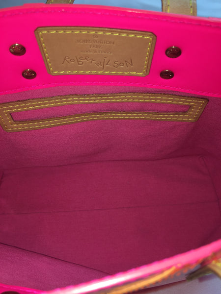 SOLD - Louis Vuitton Pink & Orange Robert Wilson PM Tote Bag. Limited Edition!