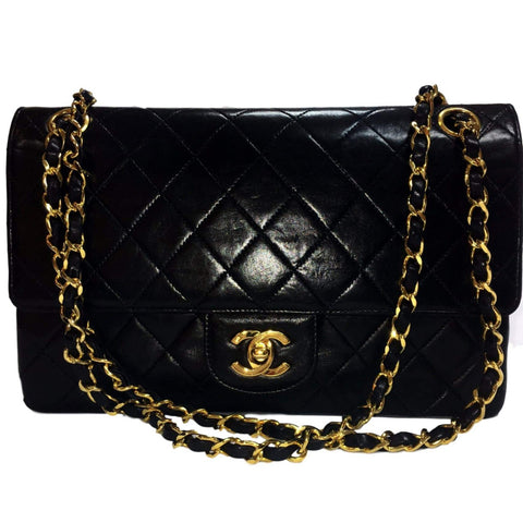SOLD - Chanel Black Lambskin w/ Silver Medallion Tote. Exquisite!