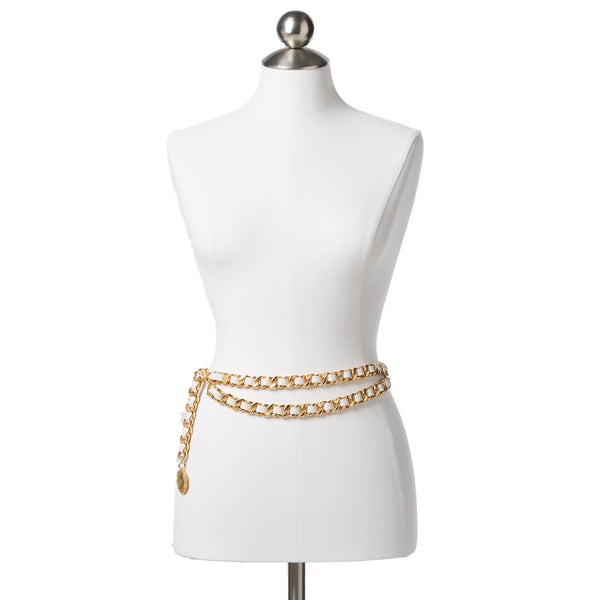 Chanel Cream Lambskin Leather + Double Gold Chain Belt. Statement Piece! Coco et Louis