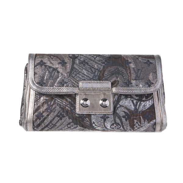 Sold -Louis Vuitton Thalie Monogram Silver Brocade Clutch Bag. Pure Class! Coco et Louis