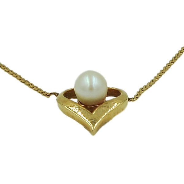 14K Gold Necklace w/ Genuine Vintage Pearl. - Coco et Louis - 1
