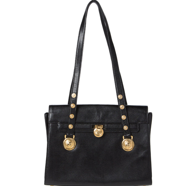 0f18fd0ca38d Gianni Versace Black Leather Iconic Bag. Couture! – Coco et Louis