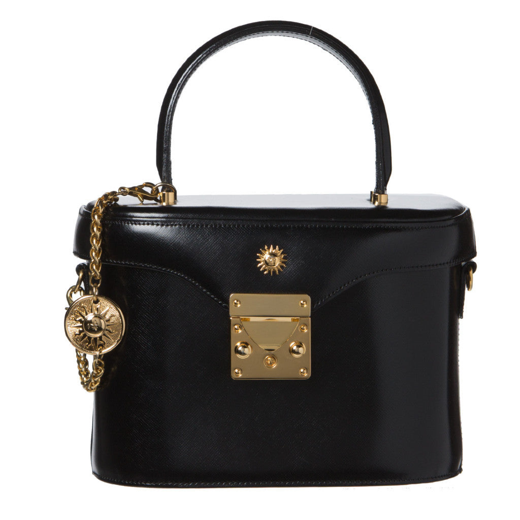 Versace Black Leather 2 Way Boston Bag l1iHo