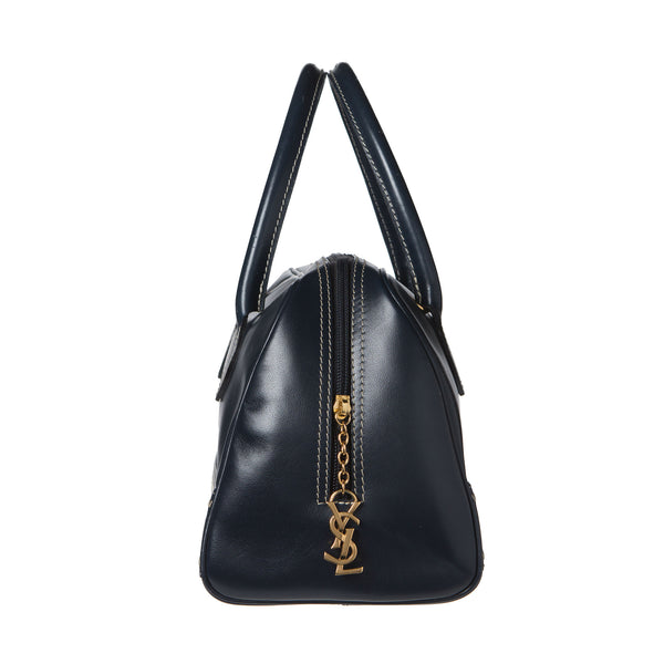 Saint Laurant Navy Blue Leather Chic Bowler Bag. Lovely! Coco et Louis