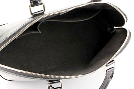 SOLD - Louis Vuitton Black Alma Epi GM Electric Satchel with Silver Hardware. Stunning!