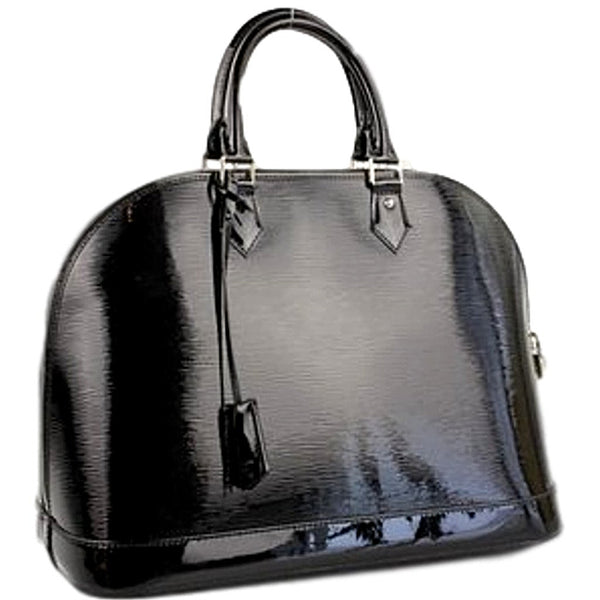 Louis Vuitton Black Alma Epi GM Electric Satchel with Silver Hardware. Stunning!