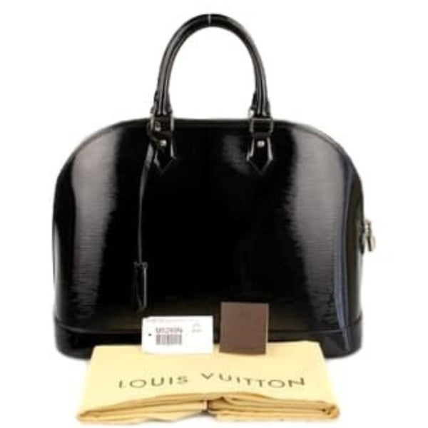 Louis Vuitton Alma Epi GM Noir Electric Satchel with Silver Hardware. Stunning!