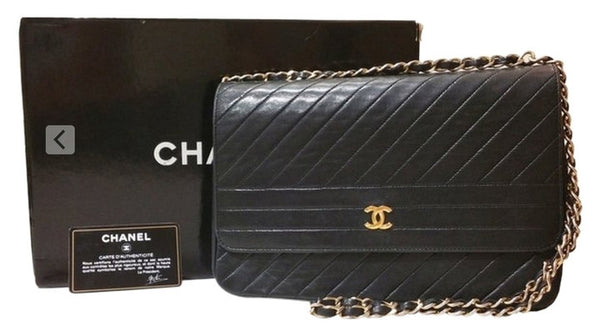 6857131aaa3a Sold -Chanel Chevron Quilted Rare Classic Flap Bag. Beautifully Vintage!