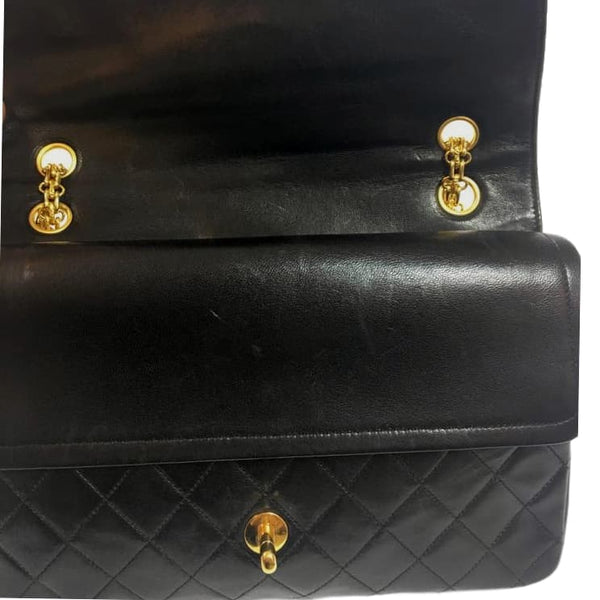 SOLD - Chanel Black Double Flap Large Gold Chain Bag.  Lovely!
