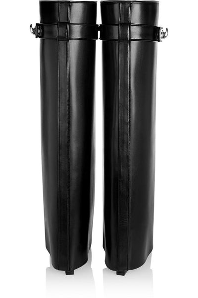Givenchy Shark Lock Wedge Knee Black Leather Boots. So Chic! Size 8 Coco et Louis