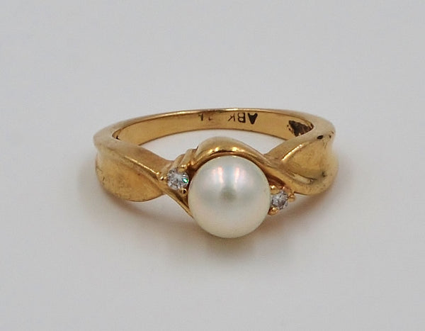 Yellow Gold Pearl & Diamond 10K Ring.  Size 5 - Coco et Louis - 3