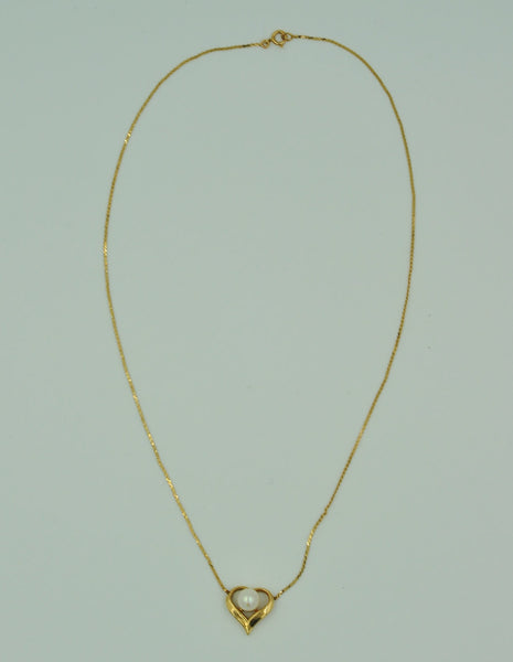 14K Gold Necklace w/ Genuine Vintage Pearl. - Coco et Louis - 2