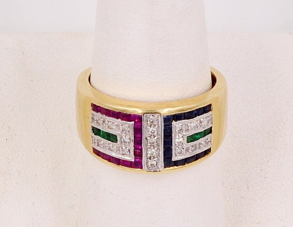 14K Yellow Gold, Sapphire, Ruby, Emerald & Diamond Ring.  Size 7 - Coco et Louis - 5