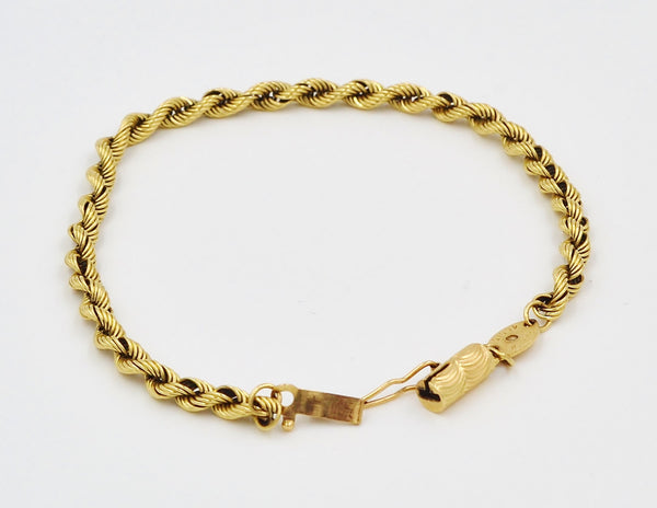 Yellow Gold 14K Rope Chain Bracelet. - Coco et Louis - 4