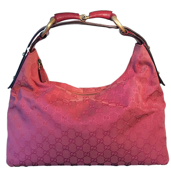 SOLD - Gucci Pink Horsebit Canvas Hobo Bag. RARE Raspberry Red Color!