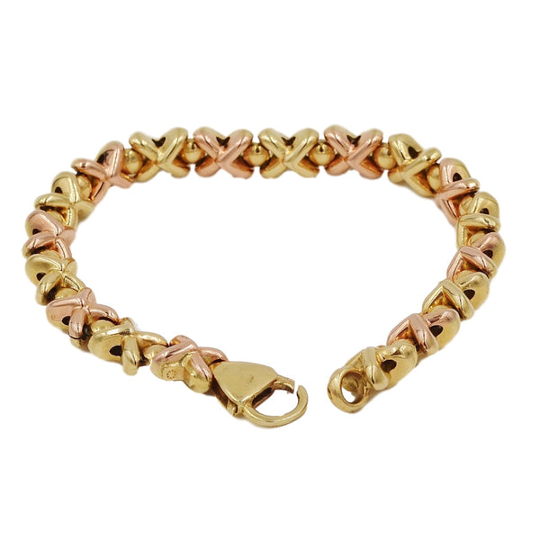 Yellow & Rose Gold XOXO Pattern 14K Bracelet - Coco et Louis - 2