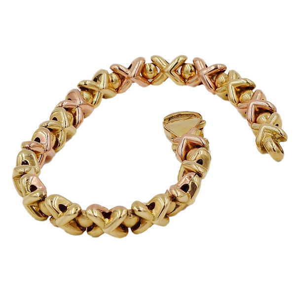 Yellow & Rose Gold XOXO Pattern 14K Bracelet - Coco et Louis - 5