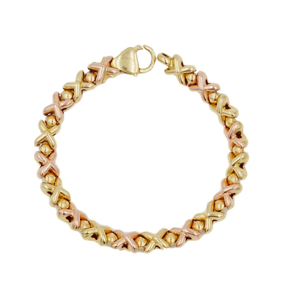 Yellow & Rose Gold XOXO Pattern 14K Bracelet - Coco et Louis - 4