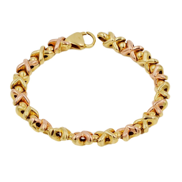 Yellow & Rose Gold XOXO Pattern 14K Bracelet - Coco et Louis - 1