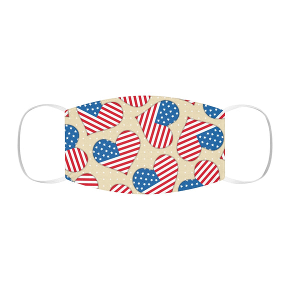 Flag Hearts Snug-Fit Polyester Face Mask
