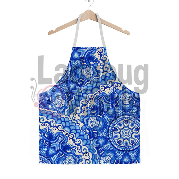 Beautiful Blue Manadala Classic Sublimation Adult Apron - LadybugVinyls