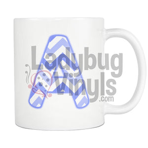 Blue Chevron Monogram Mug (A-J) - LadybugVinyls
