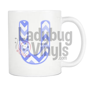 Blue Chevron Monogram Mug (U-Z) - LadybugVinyls