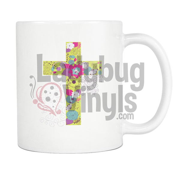 Bright Flower Cross Mug - LadybugVinyls