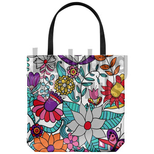 Bright Flowers Tote Bag - LadybugVinyls
