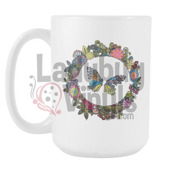 Butterfly Wreath 15oz Coffee Mug - LadybugVinyls