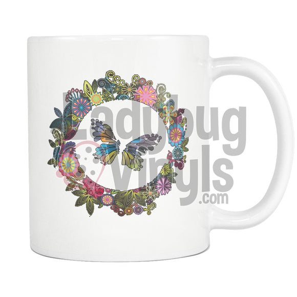 Butterfly Wreath Coffee Mug - LadybugVinyls