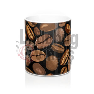 Coffee Beans on Black All Over Print 11oz Coffee Mug - LadybugVinyls