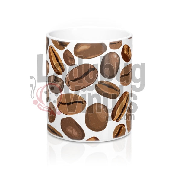 Coffee Beans on White All Over Print 11oz Coffee Mug - LadybugVinyls