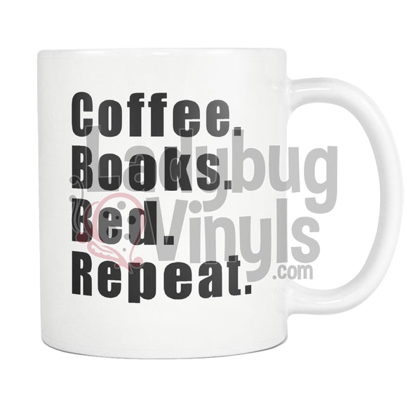 Coffee Books Bed Repeat 11oz Coffee Mug - LadybugVinyls