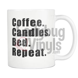 Coffee Candles Bed Repeat 11oz Coffee Mug - LadybugVinyls