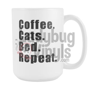Coffee Cats Bed Repeat 15oz Coffee Mug - LadybugVinyls