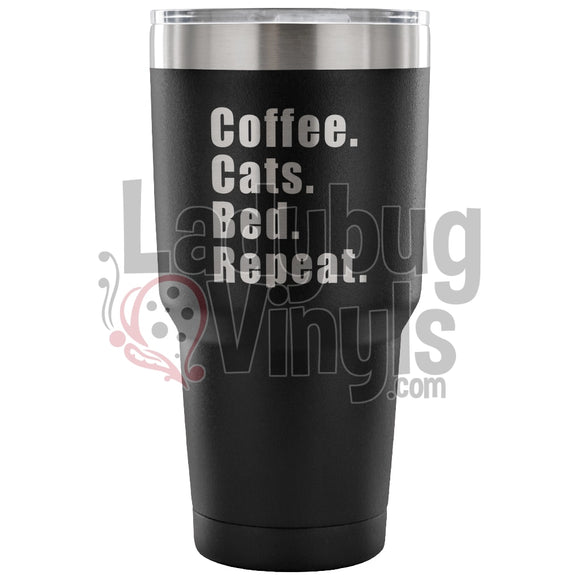 Coffee Cats Bed Repeat 30Oz Tumbler 30 Ounce Vacuum - Black Tumblers