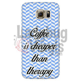 Coffee Is Cheaper Than Therapy (blue) Phone Case - LadybugVinyls