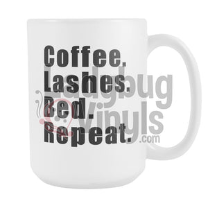 Coffee Lashes Bed Repeat 15oz Coffee Mug - LadybugVinyls