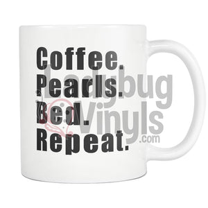 Coffee Pearls Bed Repeat 11oz Coffee Mug - LadybugVinyls