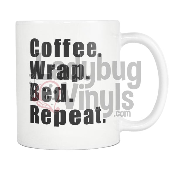 Coffee Wrap Bed Repeat 11oz Coffee Mug - LadybugVinyls