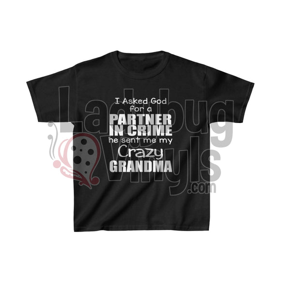 Crazy Grandma Kids Heavy Cotton Tee Black / L Clothes